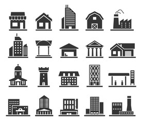 Building facade construction and town home icon set