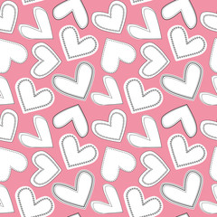 White and black line art doodle hearts as seamless multidirectional vector pattern on soft pink background. Great for valentine projects, fabric, home decor, scrapbooking, giftwrap, stationery
