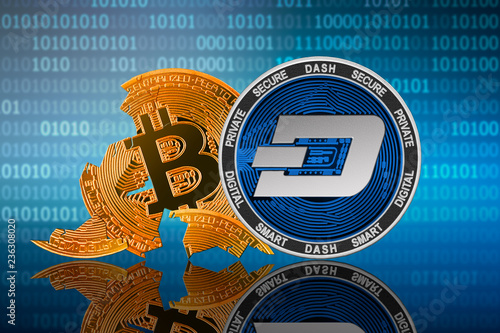 DASH coin stands in front of cracked coin bitcoin on binary