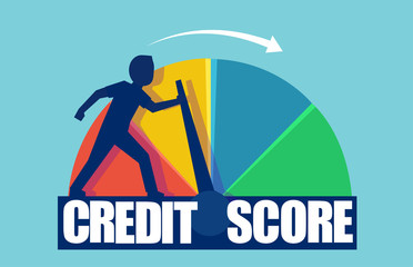 Vector of a businessman pushing scale changing credit information from poor to good.