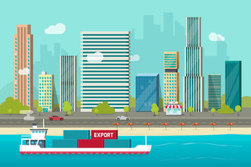 Heavy maritime container ship sailing in ocean or sea port with cargo containers vector illustration, flat carton shipping transportation vessel or containership floating near city shore harbor