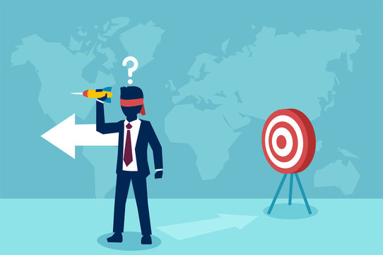 Vector of a confused blindfold businessman trying to hit a target with dart