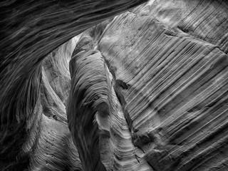 Moki steps ascend a sandstone wall inside Peek-A-Boo Canyon, near Kanab, Utah