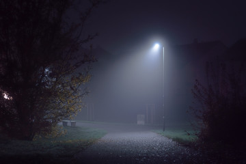 street illuminated with streetlamps