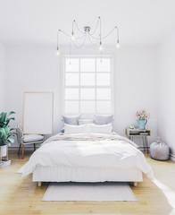 Poster mockup in bedroom. Empty frame in interior.