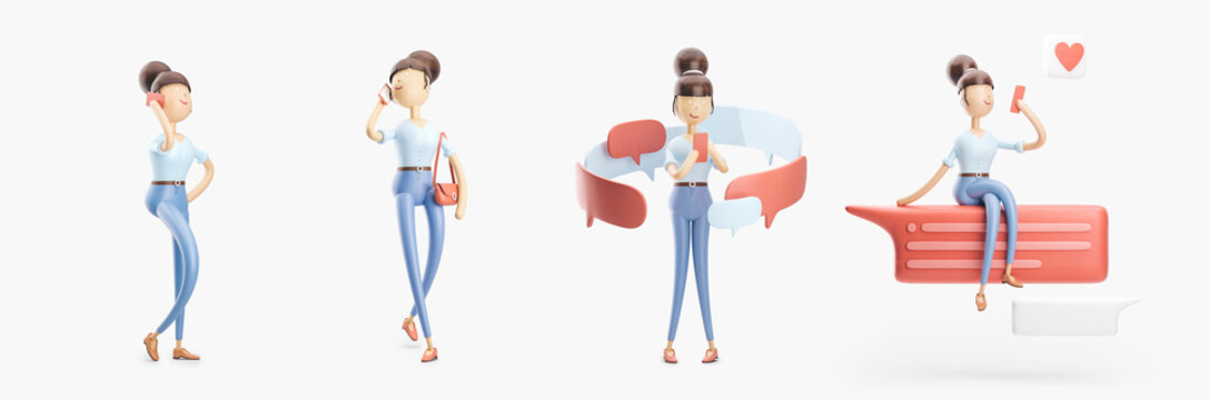 cartoon character is sending a message and  talking on the phone. set of 3d illustrations