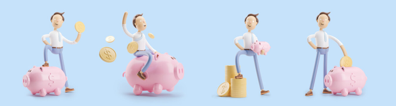 cartoon character with coin and money box pig. set of 3d illustrations