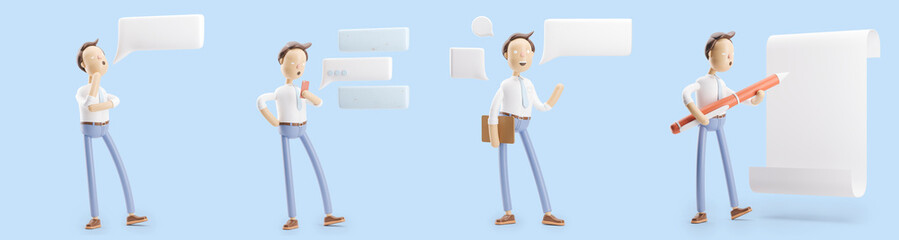 set of 3d illustrations. Businessman Jimmy with bubble talk, pen and paper.