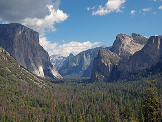 view over Yosemite Valley from Wawona Tunnel vista point with El Capitan on the left, Half Dome on axis and Bridalveil Fall on the right, California, USA