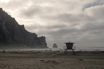 early evening at Morro Rock Beach, Morro Bay, California, USA