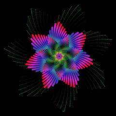 Abstrait fleur éclairée dans le noir
