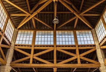 Interior of wooden warehouse