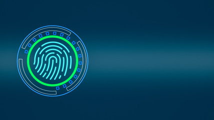 futuristic computer interface with fingerprint scanner, copy space