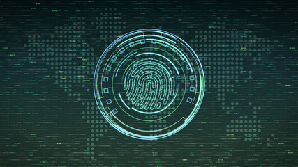 futuristic computer interface with fingerprint scanner and abstract background