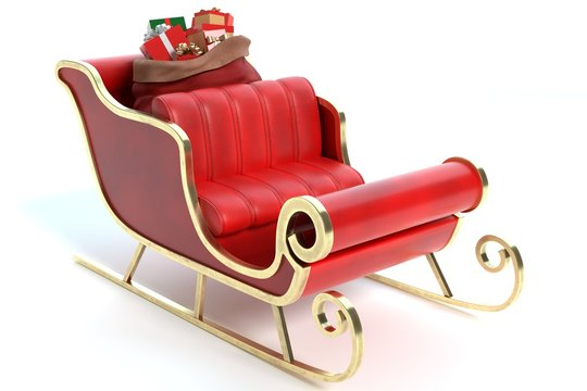 3d illustration of a Santa Sleigh