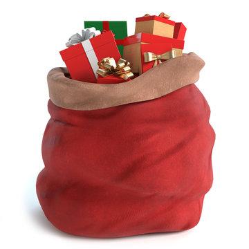 3d illustration of a Santa bag