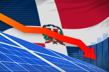 Dominican Republic solar energy power lowering chart, arrow down - alternative natural energy industrial illustration. 3D Illustration