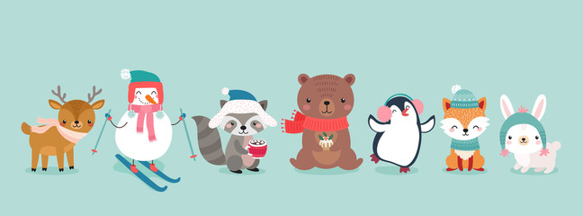 Christmas characters - animals, snowmen, Santa Claus.
