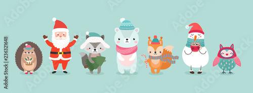 Wall mural Christmas characters - animals, snowmen, Santa Claus.