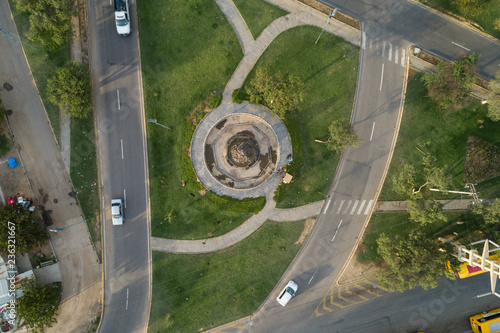 Aerial view of traffic circle and roads