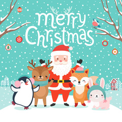 Wall Mural - Cute characters hugging - Santa Claus, fox, reindeer, penguin and rabbit..
