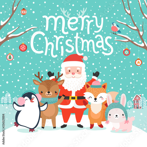 Wall mural Cute characters hugging - Santa Claus, fox, reindeer, penguin and rabbit..