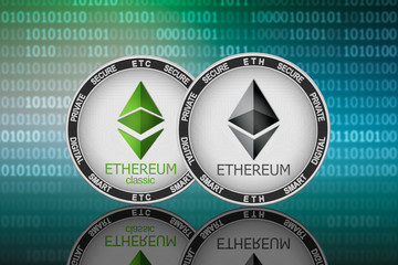 Ethereum (ETH) and Ethereum Classic (ETC) coins on the binary code background
