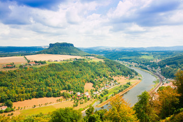 View from old Koenigstein castle down on river Elbe in Saxony