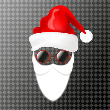Santa's face element or carnival mask. Hat, beard and glasses. Isolated on transparent background.