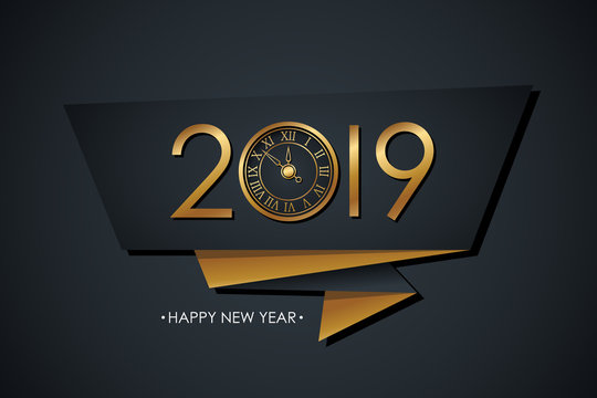 2019 Happy New Year celebrate banner with gold colored 2019 text design, new year clock and black background. Vector illustration.