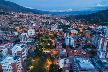Aerial View of a plaza in Cochabamba, Bolivia at dusk
