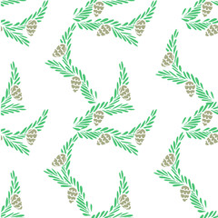 Seamless background of green fir branches brown cones on white, hand dawn pastel colour stock vector illustration