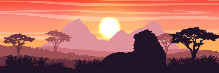 Silhouette. The big lion lies in the African savannah. Wildlife of Africa. Realistic Vector Landscape