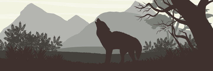 Silhouette. The wolf came out of the dense forest and howls against the backdrop of high mountains. Wildlife of Europe, USA and Canada. Realistic Vector Landscape