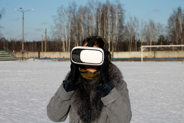 girl with virtual reality glasses