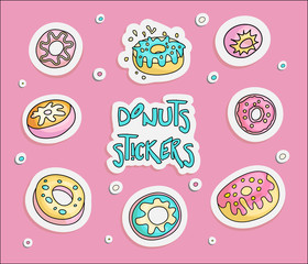 Cute funny Girl teenager colored stickers set donuts, fashion cute teen and princess patch icons. Magic fun cute girls donuts hand draw teens icon collection on pink background.