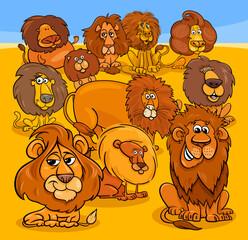cartoon lions animal characters group