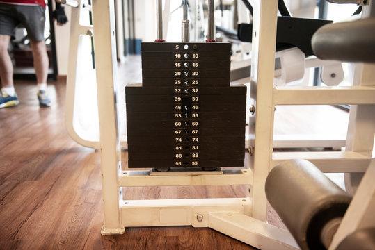 weights equipment on fitness machine