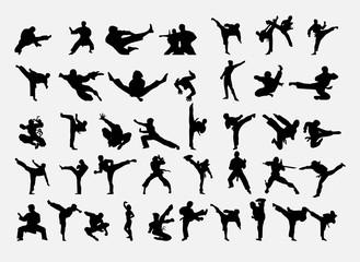 A set of karate positions. Vector illustration.