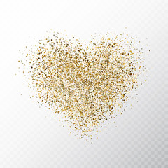 Glitter golden hearts isolated on transparent background. Gold glowing heart banner with star dust. Magic particles. Bright sparkles heart. Holiday luxury design. Vector illustration