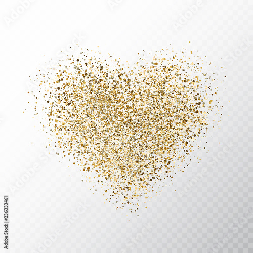 Quot Glitter Golden Hearts Isolated On Transparent Background