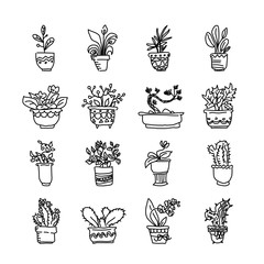Cute pots with blloming housplants and cactus. Hand drawn vector illustration set