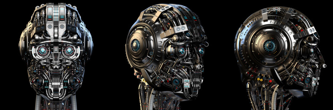 Robot head or very detailed cyborg face. Set of three different angles. Isolated on black background. 3D Render.