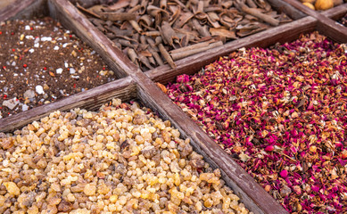 driend frankincense (boswellia serrata) and other spices being sold at a market