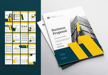 Business Proposal Layout with Teal and Yellow Accents