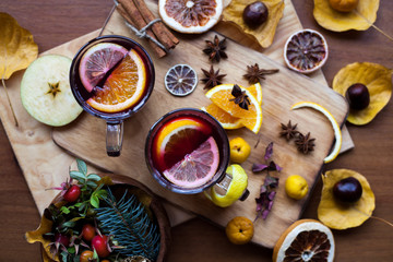 Delicious Christmas mulled wine with orange, lemon zest, cinnamon and anise