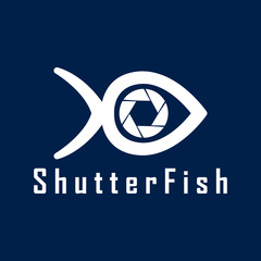 Vector Shutter Fish Photography logo design template. Fish and Shutter camera. White color.