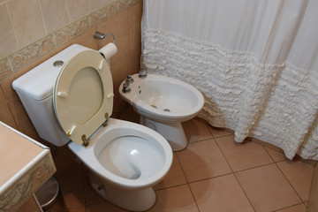 bathroom with toilet and bidet in the house