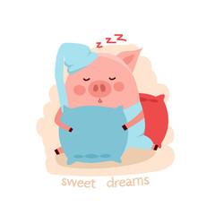 Cute cartoon sleeping pig hugging the pillow