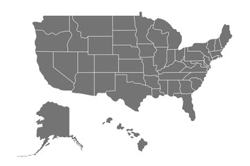 Map of United States of America (USA) with states, Alaska and Hawaii. illustration isolated on white background